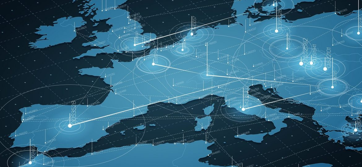 Europe blue map big data visualization. Futuristic map infographic. Information aesthetics. Visual data complexity. Complex europe data graphic visualization. Abstract data on map graph.